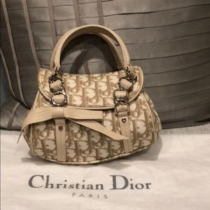 Authentic beige mini Dior bag with logo